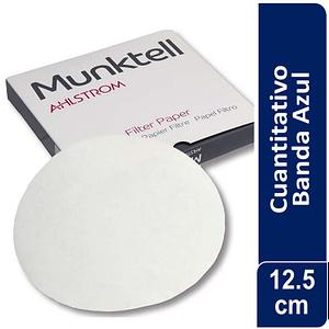 Papel de filtro cuantitativo BANDA AZUL Filtracion Lenta 12.5 cm 100 ud Munktell