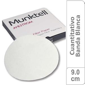 Papel de filtro cuantitativo 00M Banda Blanca Filtración Media Rápida9.00 cm 100 ud Munktell