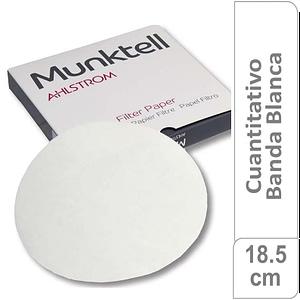 Papel de filtro cuantitativo 00M Banda Blanca Filtración Media Rápida18.50 cm 100 ud Munktell