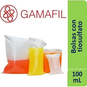 Bolsas con 10 mg TIOSULFATO DE SODIO 100 mL 9×15 cm 50 um de espesor cajas x 100 ud Gamafil