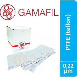 Membranas PTFE (Teflon). blancas lisas, no estériles 0,22 um – 47 mm 100 ud Gamafil